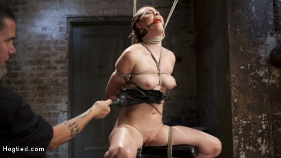 Photo number 1 from Casey Calvet Endures Brutal Bondage and Devastating Punishment shot for Hogtied on Kink.com. Featuring Casey Calvert  and The Pope in hardcore BDSM & Fetish porn.