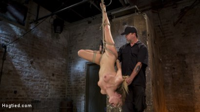 Photo number 1 from Hot Petite Blonde Surrender to Devastating Bondage and Torment shot for Hogtied on Kink.com. Featuring Sydney Cole and The Pope in hardcore BDSM & Fetish porn.