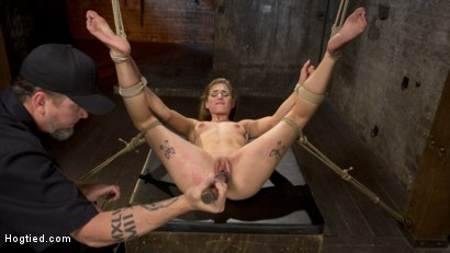 Photo number 4 from Hot Petite Blonde Surrender to Devastating Bondage and Torment shot for Hogtied on Kink.com. Featuring Sydney Cole and The Pope in hardcore BDSM & Fetish porn.