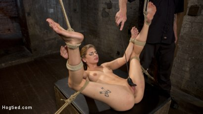Photo number 8 from Hot Petite Blonde Surrender to Devastating Bondage and Torment shot for Hogtied on Kink.com. Featuring Sydney Cole and The Pope in hardcore BDSM & Fetish porn.