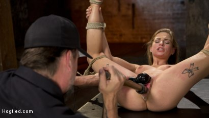 Photo number 9 from Hot Petite Blonde Surrender to Devastating Bondage and Torment shot for Hogtied on Kink.com. Featuring Sydney Cole and The Pope in hardcore BDSM & Fetish porn.