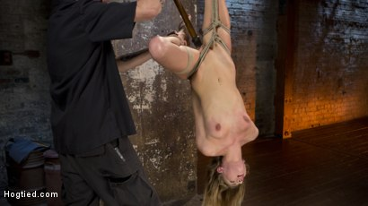 Photo number 10 from Hot Petite Blonde Surrender to Devastating Bondage and Torment shot for Hogtied on Kink.com. Featuring Sydney Cole and The Pope in hardcore BDSM & Fetish porn.
