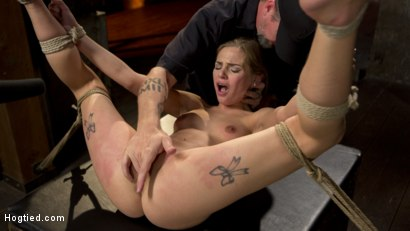 Photo number 3 from Hot Petite Blonde Surrender to Devastating Bondage and Torment shot for Hogtied on Kink.com. Featuring Sydney Cole and The Pope in hardcore BDSM & Fetish porn.