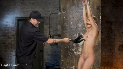 Photo number 6 from Hot Petite Blonde Surrender to Devastating Bondage and Torment shot for Hogtied on Kink.com. Featuring Sydney Cole and The Pope in hardcore BDSM & Fetish porn.