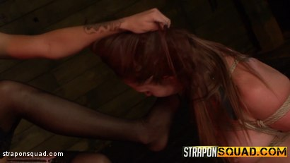 Photo number 1 from Autumn Kline Endures Dildo Deepthroat BJ & Rough Sex with Esmi Lee shot for Strapon Squad on Kink.com. Featuring  in hardcore BDSM & Fetish porn.