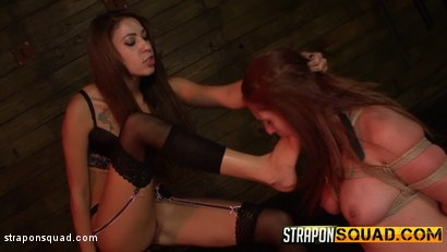 Photo number 4 from Autumn Kline Endures Dildo Deepthroat BJ & Rough Sex with Esmi Lee shot for Strapon Squad on Kink.com. Featuring  in hardcore BDSM & Fetish porn.