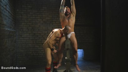 Photo number 7 from Muscled pig slave gets his first taste of the cattle prod shot for Bound Gods on Kink.com. Featuring Hugh Hunter and Jessie Colter in hardcore BDSM & Fetish porn.