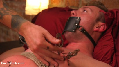 Photo number 10 from Online hookup turns into a night of kinky sex for BDSM virgin shot for Bound Gods on Kink.com. Featuring Christian Wilde and Grayson Frost in hardcore BDSM & Fetish porn.