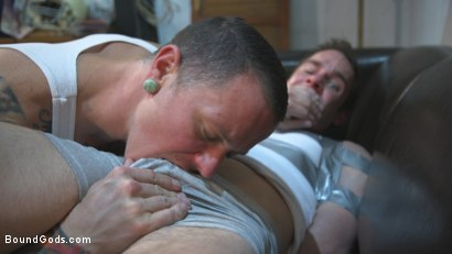 Photo number 3 from Hot Muscular Convict Torments His Duct-Taped Captive shot for Bound Gods on Kink.com. Featuring Max Cameron and Cameron Kincade in hardcore BDSM & Fetish porn.
