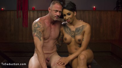 Photo number 2 from First Time Cream Pie  shot for TS Seduction on Kink.com. Featuring Honey FoXXX and D. Arclyte in hardcore BDSM & Fetish porn.