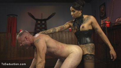 Photo number 17 from First Time Cream Pie  shot for TS Seduction on Kink.com. Featuring Honey FoXXX and D. Arclyte in hardcore BDSM & Fetish porn.