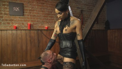 Photo number 19 from First Time Cream Pie  shot for TS Seduction on Kink.com. Featuring Honey FoXXX and D. Arclyte in hardcore BDSM & Fetish porn.