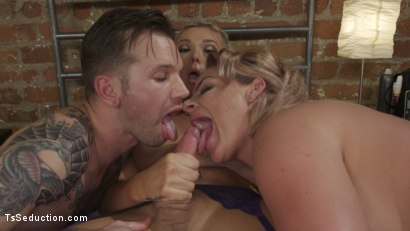 Photo number 4 from Phoenix Marie's TS Threesome: What does she have that I don't have? shot for TS Seduction on Kink.com. Featuring Aubrey Kate, Will Havoc and Phoenix Marie in hardcore BDSM & Fetish porn.