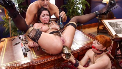 Photo number 5 from Uptight Babe Submits to Punishment and Squirts Everywhere shot for The Upper Floor on Kink.com. Featuring Ramon Nomar, Karlee Grey and Penny Pax in hardcore BDSM & Fetish porn.