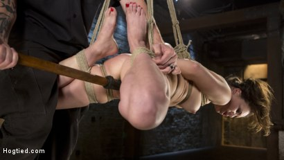 Photo number 7 from Pain Pixie Suffers in Grueling Bondage, is Tormented, and then Made to Cum shot for Hogtied on Kink.com. Featuring Juliette March and The Pope in hardcore BDSM & Fetish porn.
