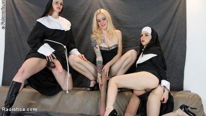 Photo number 1 from Secret Slut Convent: Pixie Python, Brenda BatterRam, Elisa ExtremeBeam shot for Radrotica on Kink.com. Featuring Bella Rossi, Juliette March and Jeze Belle in hardcore BDSM & Fetish porn.