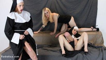 Photo number 2 from Secret Slut Convent: Pixie Python, Brenda BatterRam, Elisa ExtremeBeam shot for Radrotica on Kink.com. Featuring Bella Rossi, Juliette March and Jeze Belle in hardcore BDSM & Fetish porn.