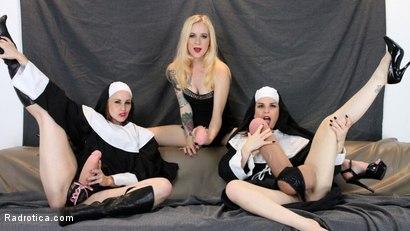 Photo number 4 from Secret Slut Convent: Pixie Python, Brenda BatterRam, Elisa ExtremeBeam shot for Radrotica on Kink.com. Featuring Bella Rossi, Juliette March and Jeze Belle in hardcore BDSM & Fetish porn.