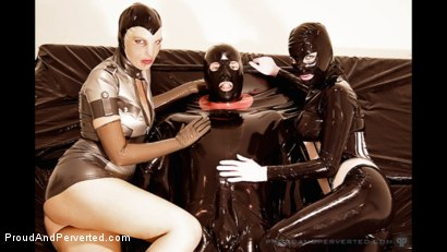 Photo number 4 from The Rubber Bed: Rubber Pixie, Pierced Cat, Andrew North shot for Proud and Perverted on Kink.com. Featuring  in hardcore BDSM & Fetish porn.