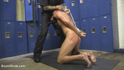 Photo number 3 from Straight Boy in the Locker Room is Abducted and Fucked! shot for Bound Gods on Kink.com. Featuring Brian Huggins and Christian Wilde in hardcore BDSM & Fetish porn.