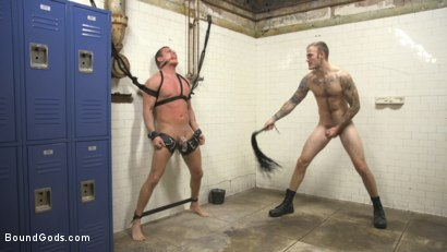 Photo number 4 from Straight Boy in the Locker Room is Abducted and Fucked! shot for Bound Gods on Kink.com. Featuring Brian Huggins and Christian Wilde in hardcore BDSM & Fetish porn.