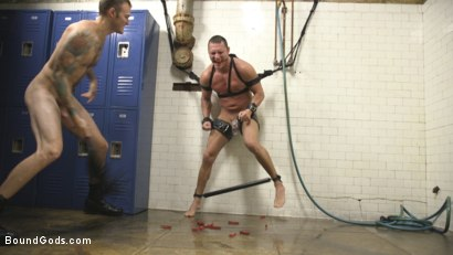 Photo number 9 from Straight Boy in the Locker Room is Abducted and Fucked! shot for Bound Gods on Kink.com. Featuring Brian Huggins and Christian Wilde in hardcore BDSM & Fetish porn.