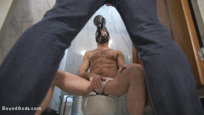 Photo number 2 from Hung stud finds a dirty bathroom pig to worship his giant cock shot for Bound Gods on Kink.com. Featuring Connor Patricks and Max Cameron in hardcore BDSM & Fetish porn.