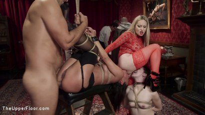 Photo number 1 from Anal Slaves Serve Kinky Costume Ball shot for The Upper Floor on Kink.com. Featuring Aiden Starr, Amara Romani, John Strong, Sadie Santana, Ramon Nomar, Kasey Warner and Ember Stone in hardcore BDSM & Fetish porn.