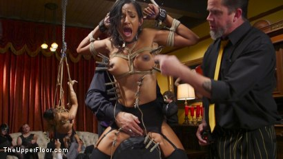 Photo number 7 from Anal Slaves Serve Kinky Costume Ball shot for The Upper Floor on Kink.com. Featuring Aiden Starr, Amara Romani, John Strong, Sadie Santana, Ramon Nomar, Kasey Warner and Ember Stone in hardcore BDSM & Fetish porn.