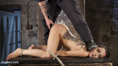 Photo number 1 from College Brat Gets Devastating Torment in Grueling Bondage  shot for Hogtied on Kink.com. Featuring Roxanne Rae and The Pope in hardcore BDSM & Fetish porn.