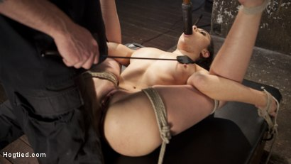 Photo number 16 from College Brat Gets Devastating Torment in Grueling Bondage  shot for Hogtied on Kink.com. Featuring Roxanne Rae and The Pope in hardcore BDSM & Fetish porn.