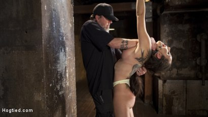 Photo number 3 from College Brat Gets Devastating Torment in Grueling Bondage  shot for Hogtied on Kink.com. Featuring Roxanne Rae and The Pope in hardcore BDSM & Fetish porn.