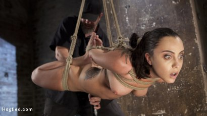 Photo number 8 from College Brat Gets Devastating Torment in Grueling Bondage  shot for Hogtied on Kink.com. Featuring Roxanne Rae and The Pope in hardcore BDSM & Fetish porn.