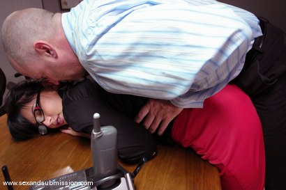 Photo number 4 from Dirty Little Secretary shot for Sex And Submission on Kink.com. Featuring Mark Davis and Eva Angelina in hardcore BDSM & Fetish porn.