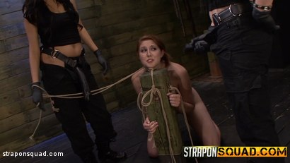 Photo number 3 from Rose Red Rope Suspension with Lexy Villa & Brooklyn Daniels' Strapons shot for Strapon Squad on Kink.com. Featuring Rose Red in hardcore BDSM & Fetish porn.