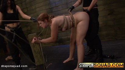 Photo number 8 from Rose Red Rope Suspension with Lexy Villa & Brooklyn Daniels' Strapons shot for Strapon Squad on Kink.com. Featuring Rose Red in hardcore BDSM & Fetish porn.