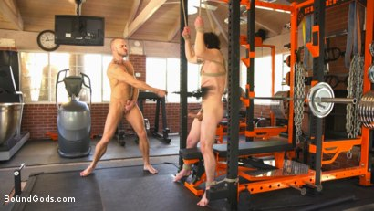 Photo number 8 from Bound gym whore gets the cum fucked right out of his uncut cock shot for Bound Gods on Kink.com. Featuring Jackson Fillmore and Jessie Colter in hardcore BDSM & Fetish porn.