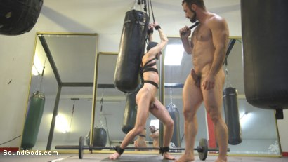 Photo number 7 from Slender stud humiliated and abused at the hands of his muscled tenant shot for Bound Gods on Kink.com. Featuring Jaxton Wheeler and Alex Hawk in hardcore BDSM & Fetish porn.