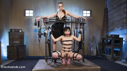 Photo number 1 from Scared Tough Electroslut Comes Hard on Electricity!  shot for Electro Sluts on Kink.com. Featuring Juliette March and Bella Rossi in hardcore BDSM & Fetish porn.