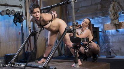 Photo number 9 from Scared Tough Electroslut Comes Hard on Electricity!  shot for Electro Sluts on Kink.com. Featuring Juliette March and Bella Rossi in hardcore BDSM & Fetish porn.