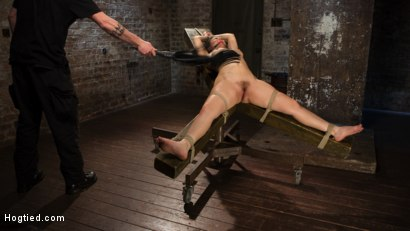 Photo number 1 from Super Slut is Subjected to Brutal Torment and Bondage! shot for Hogtied on Kink.com. Featuring Gabriella Paltrova and The Pope in hardcore BDSM & Fetish porn.