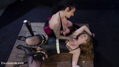 Photo number 4 from Oh My Goddess!: Lesbian Electrosex Domination  shot for Electro Sluts on Kink.com. Featuring Arabelle Raphael and Ela Darling in hardcore BDSM & Fetish porn.