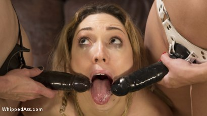 Photo number 1 from Double Stuffed Slut: Horny Lesbians Tag Team Pizza Delivery Girl shot for Whipped Ass on Kink.com. Featuring Bella Rossi, Lily LaBeau and Lea Lexis in hardcore BDSM & Fetish porn.