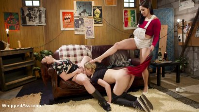 Photo number 9 from Double Stuffed Slut: Horny Lesbians Tag Team Pizza Delivery Girl shot for Whipped Ass on Kink.com. Featuring Bella Rossi, Lily LaBeau and Lea Lexis in hardcore BDSM & Fetish porn.