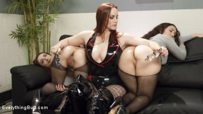 Photo number 2 from Bella Rossi Dispenses pain and Pleasure to Gabriella &  Violet's Asses shot for Everything Butt on Kink.com. Featuring Violet Monroe, Gabriella Paltrova and Bella Rossi in hardcore BDSM & Fetish porn.