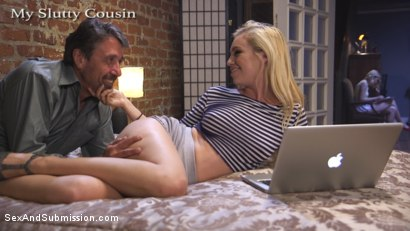 Photo number 2 from My Slutty Cousin shot for Sex And Submission on Kink.com. Featuring Lyra Law, Steve Holmes and Chloe Cherry in hardcore BDSM & Fetish porn.