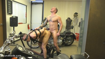 Photo number 11 from Horny Mechanic Gets Reamed by the Boss! shot for Bound Gods on Kink.com. Featuring Max Cameron and Lance Hart in hardcore BDSM & Fetish porn.