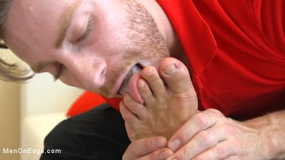 Photo number 7 from Delivery Gone Wrong - Uncut Stud Gets Edged By the Pizza Delivery Guy shot for Men On Edge on Kink.com. Featuring Dominic Pacifico in hardcore BDSM & Fetish porn.