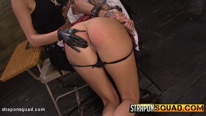 Photo number 3 from Naughty Schoolgirl Alby Rydes is Punished by Mila Blaze & Isa Mendez shot for Strapon Squad on Kink.com. Featuring Alby Rydes in hardcore BDSM & Fetish porn.