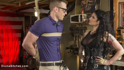 Photo number 1 from Angelic Little Nerd Meets His Devilish Destiny shot for Divine Bitches on Kink.com. Featuring Alrik Angel and Arabelle Raphael in hardcore BDSM & Fetish porn.